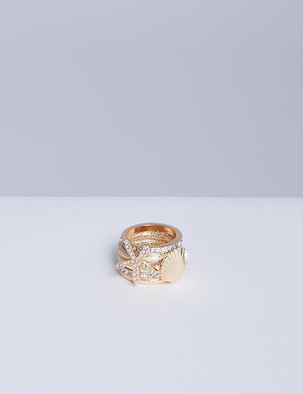 5-Stack Goldtone Sea Life Rings