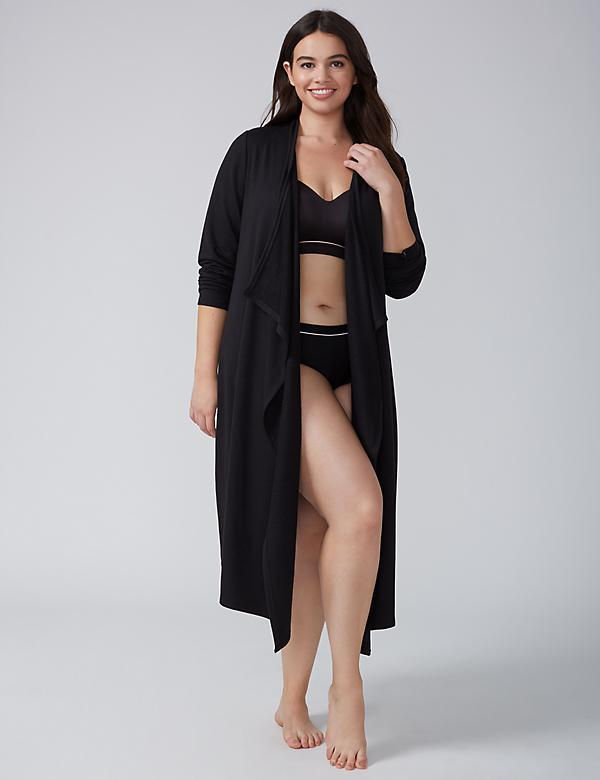 French Terry Drape-Front Robe