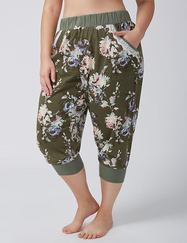 Cropped Sleep Jogger with Lace-Trim Pockets