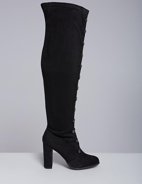 Heeled Boot with Lace-Up Detail & Military Buttons