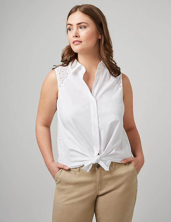 Eyelet Sleeveless Button-Down Shirt