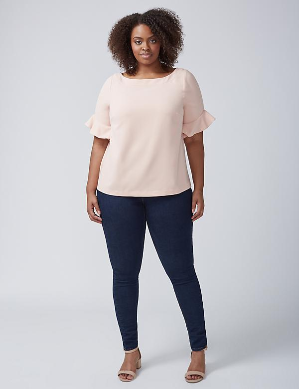 Infinite Stretch Ruffle-Sleeve Top
