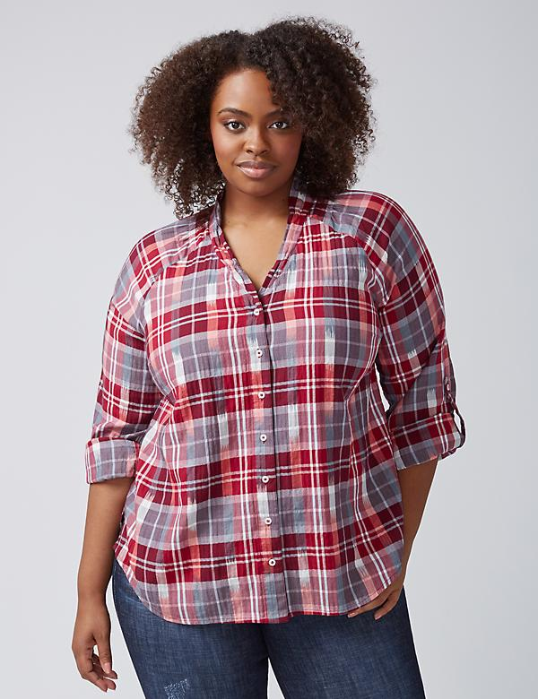Plaid Shirred-Neck Shirt