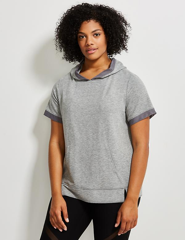 Spa Short-Sleeve Active Hoodie with Mesh