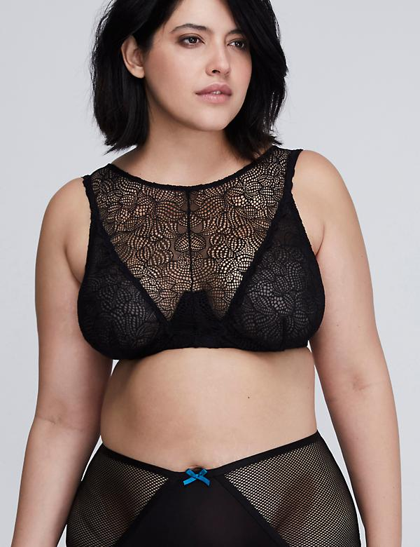 Lace High-Neck Unlined Balconette Bra