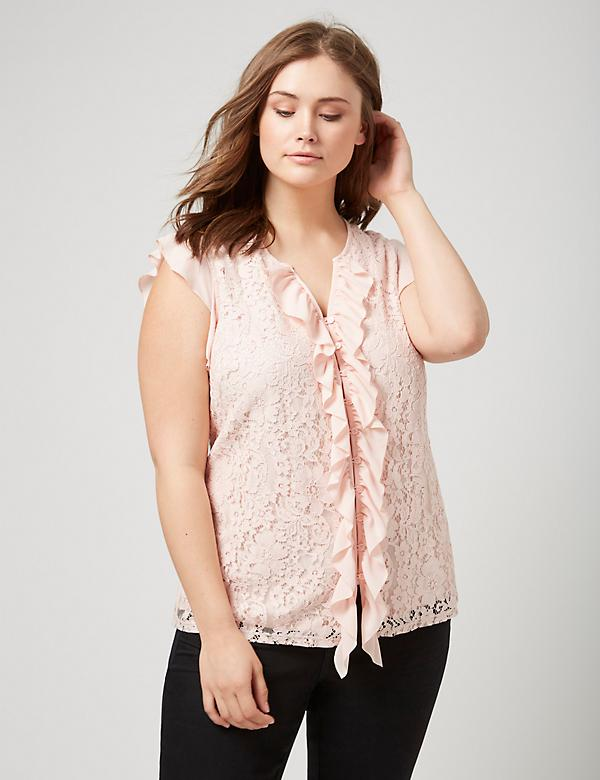 Fast Lane Lace and Ruffle-Front Shirt