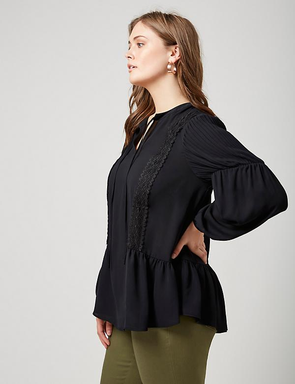 Fast Lane Peplum Peasant Top with Pleats