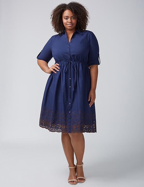 Shirtdress with Eyelet Hem