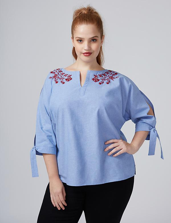 Fast Lane Embroidered Popover with Split Sleeves