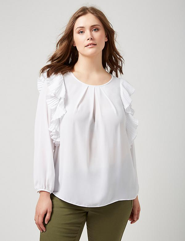 Fast Lane Blouse with Pleated Detail