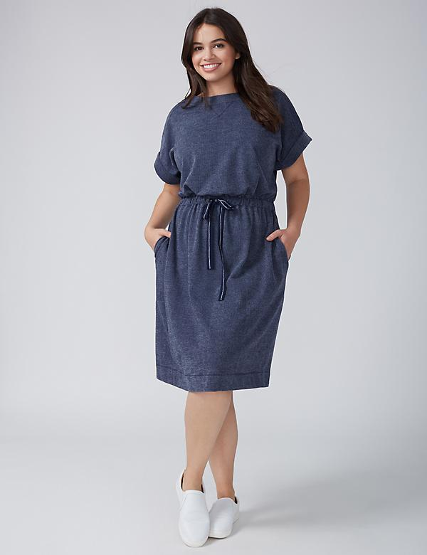 Sweatshirt Dress with Drawstring Waist