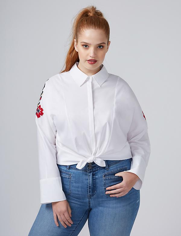 Fast Lane Embroidered Dolman Button-Front Shirt