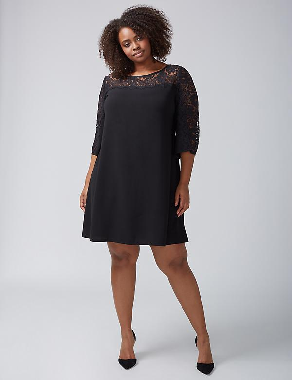 Lace-Sleeve Swing Dress