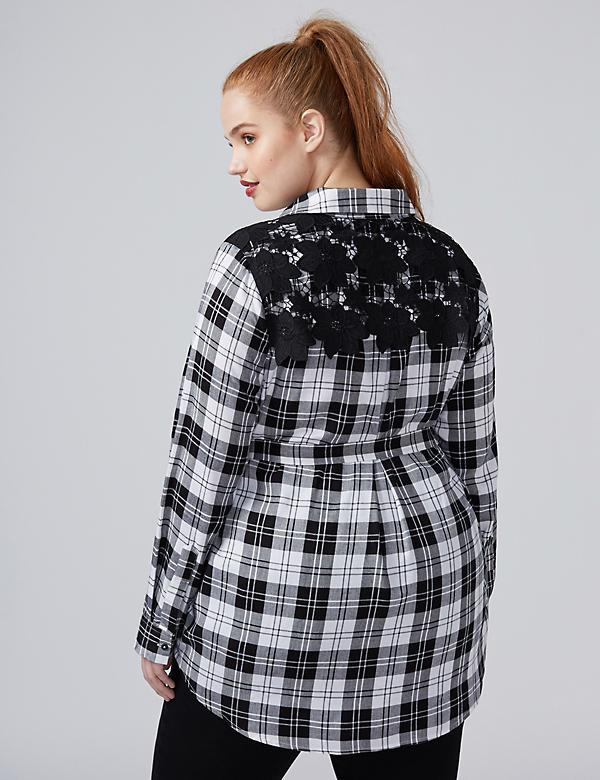 Fast Lane Plaid Tunic with Crochet Back Detailing