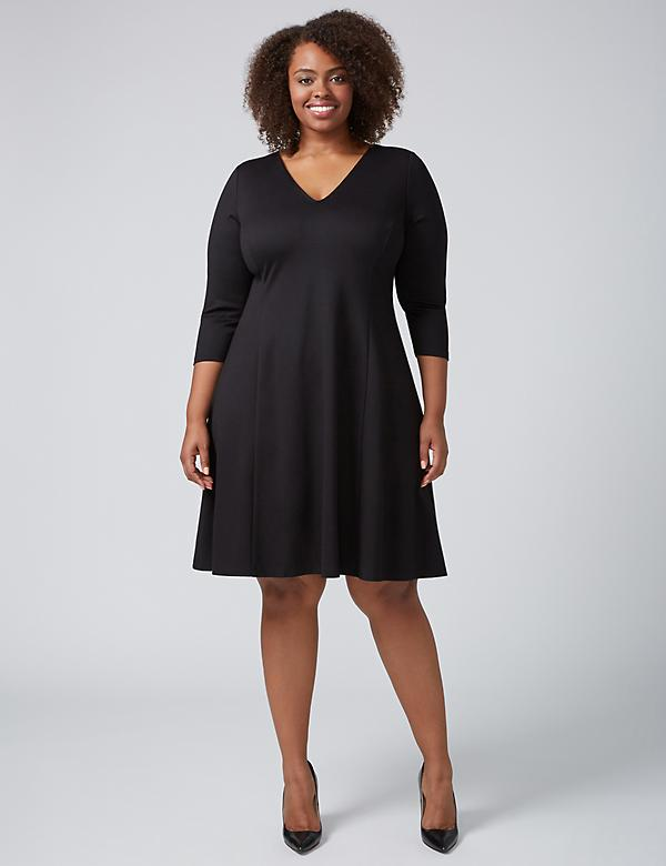 3/4-Sleeve Princess Fit & Flare Dress