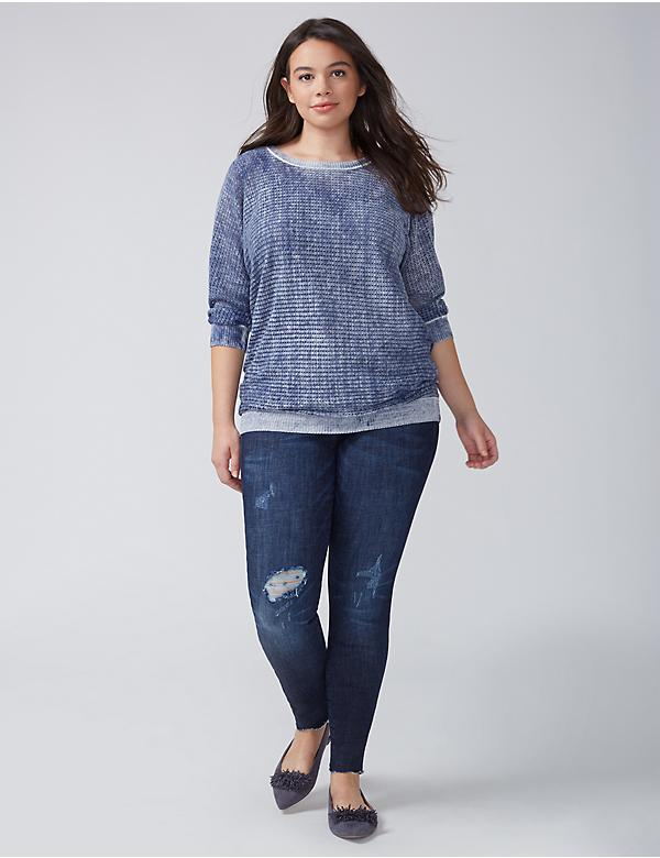 Open-Stitch Pullover with Reverse Indigo Print