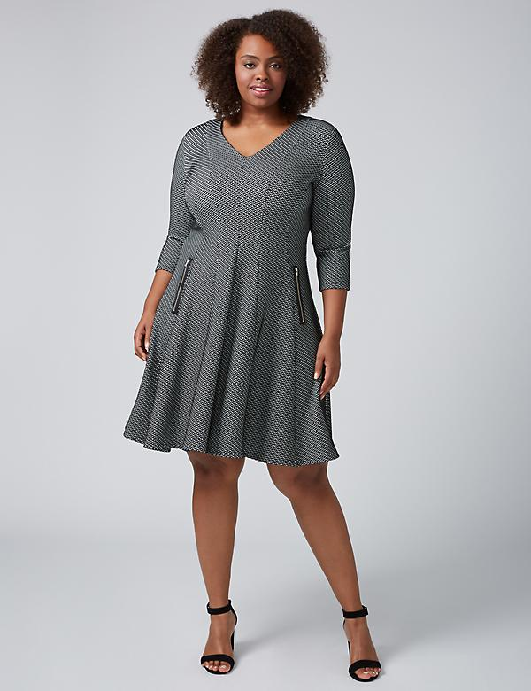 3/4 Sleeve Textured Fit & Flare Dress With Zipper Detail