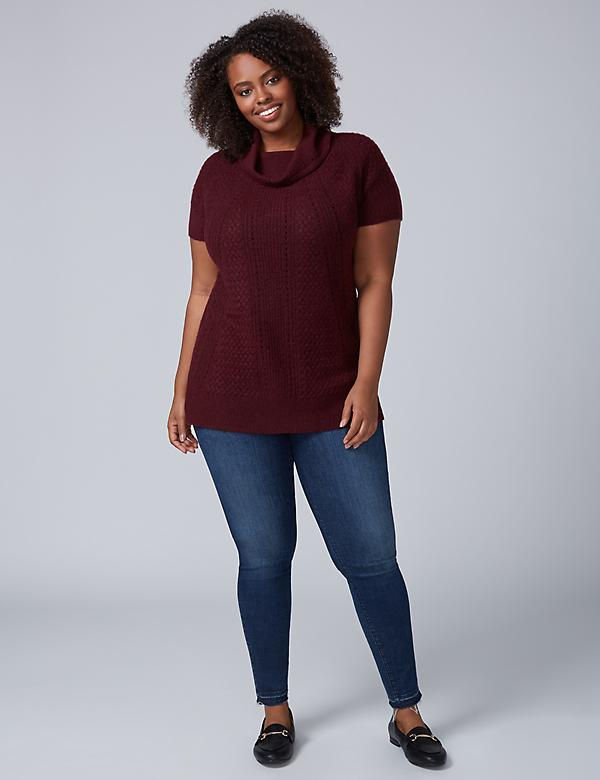 Short-Sleeve Cowl-Neck Tunic Sweater