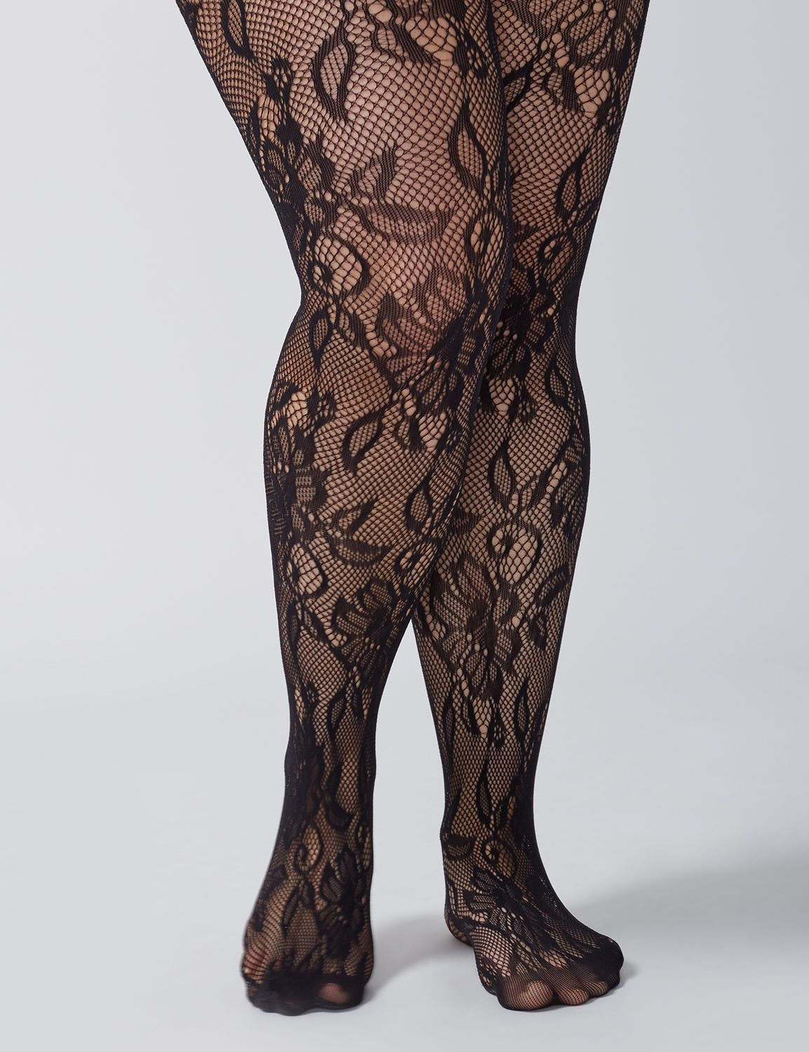 Victorian Inspired Womens Clothing Lane Bryant Womens Fishnet Floral Tights E-F Black $19.95 AT vintagedancer.com