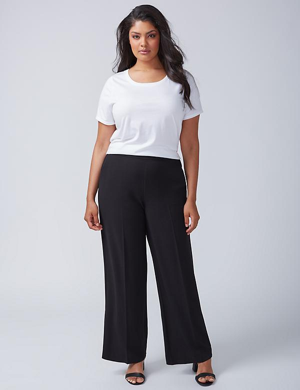 Textured Crepe Wide Leg Pant