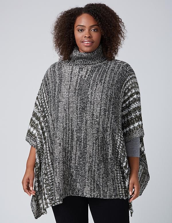 Turtleneck Poncho with Pattern Border