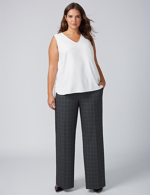 Lena Tailored Stretch Wide Leg Pant - Windowpane