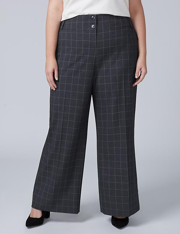 Ashley Tailored Stretch Wide Leg Pant - Windowpane