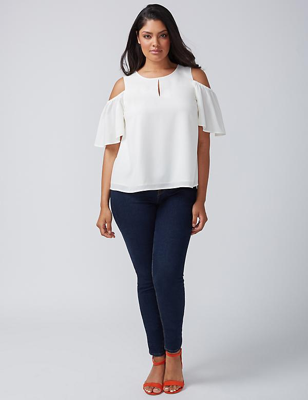 Cold-Shoulder Flutter-Sleeve Top