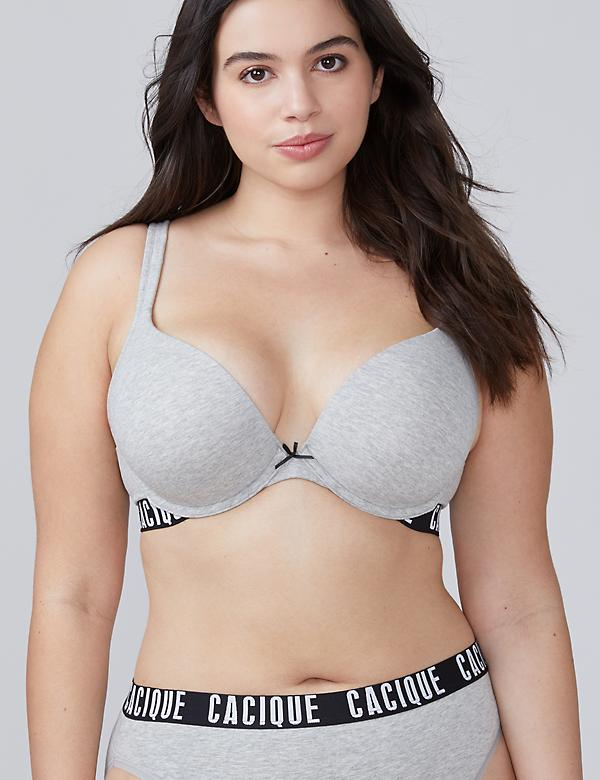 Cotton Boost Plunge Bra with Logo Band