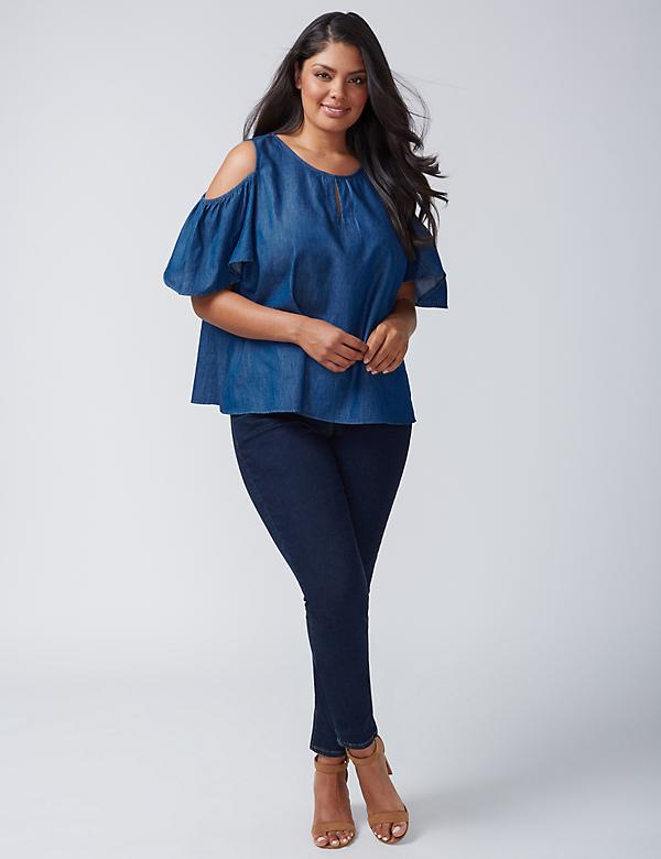 Chambray Cold-Shoulder Flutter-Sleeve Top