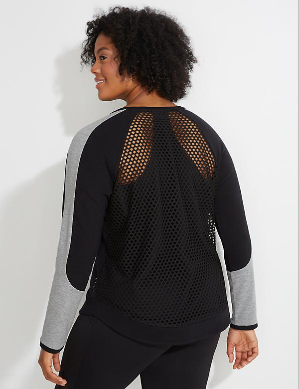 Spa Mesh-Back Colorblock Active Sweatshirt