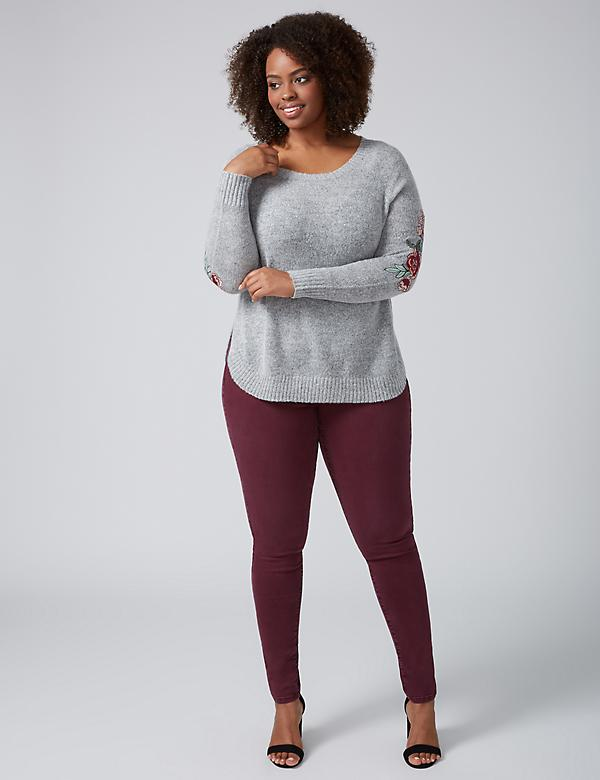 Rounded-Hem Sweater with Embroidery