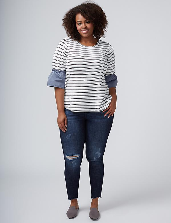Striped Tee with Chambray Flutter Sleeves