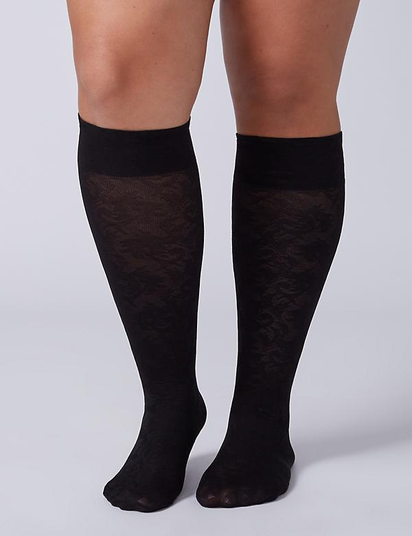 Solid & Lace Trouser Socks 2-Pack