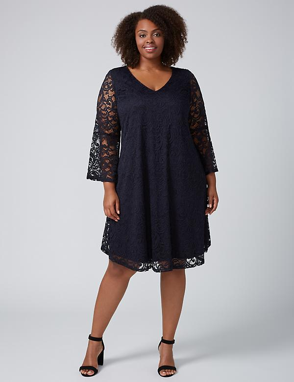 Lace Swing Dress with Bell Sleeves