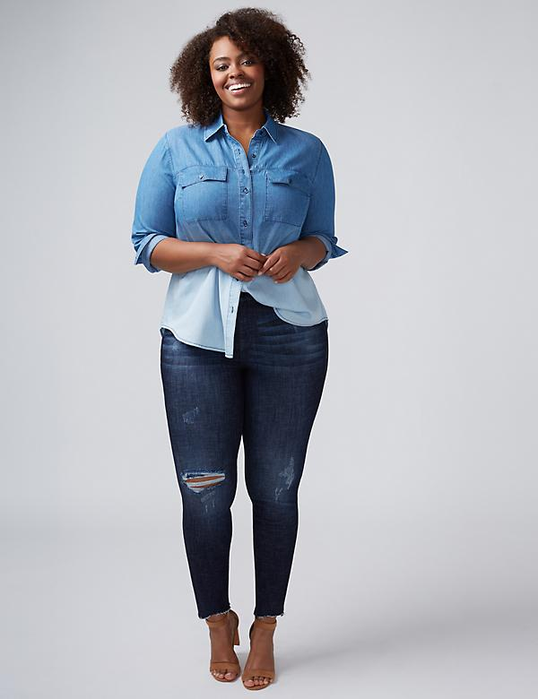 Dip-Dye Washed Denim Casual Shirt