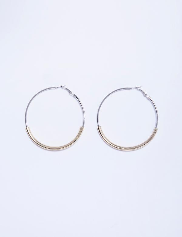 2-Tone Large Hoop Earrings