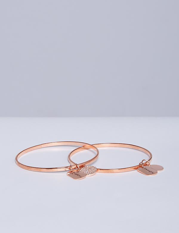 2-Row Inspirational Bangle Set