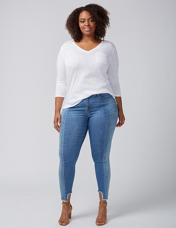 Super Stretch Skinny Jean - Pieced with Step Hem