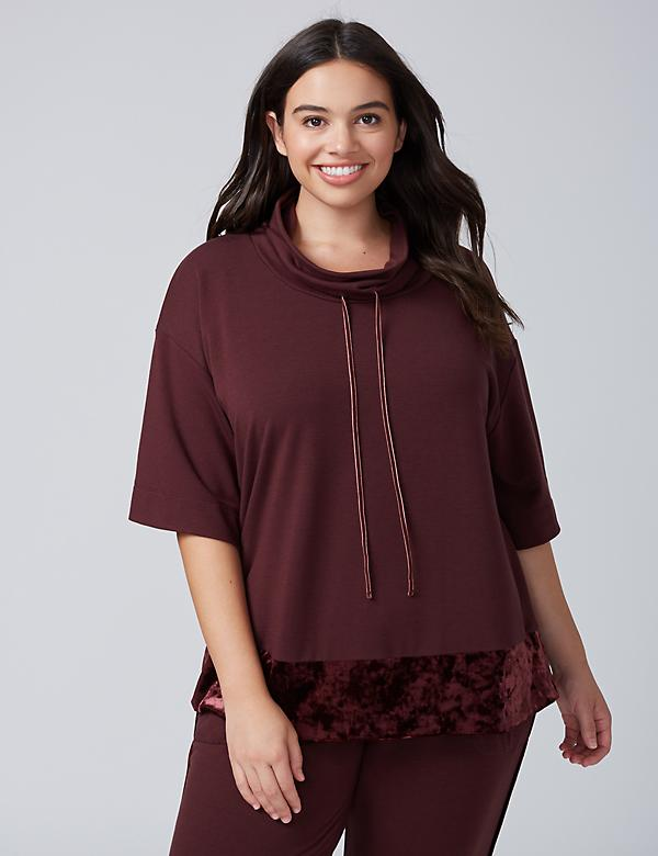 Cowl-Neck Sleep Top with Velvet