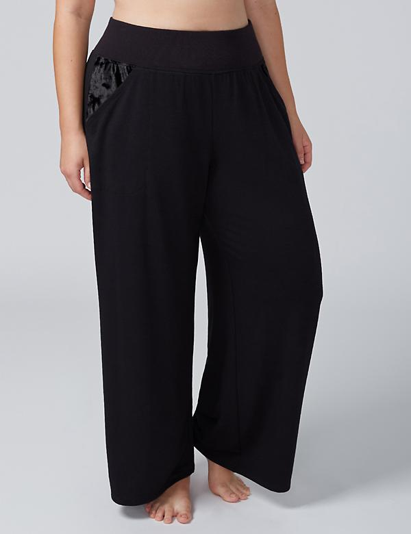 Wide Leg Sleep Pant with Velvet Trim
