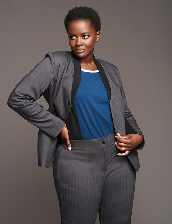 Ribbed-Trim Jacket by GLAMOUR X LANE BRYANT