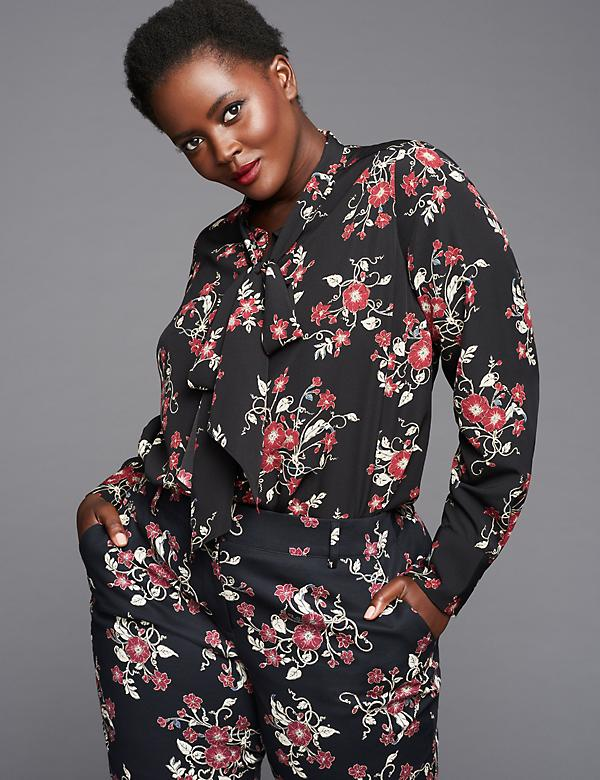 Printed Tie-Neck Blouse by GLAMOUR X LANE BRYANT