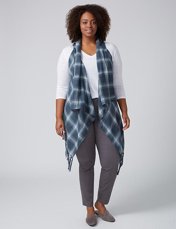 Plaid 2 in 1 Vest & Scarf