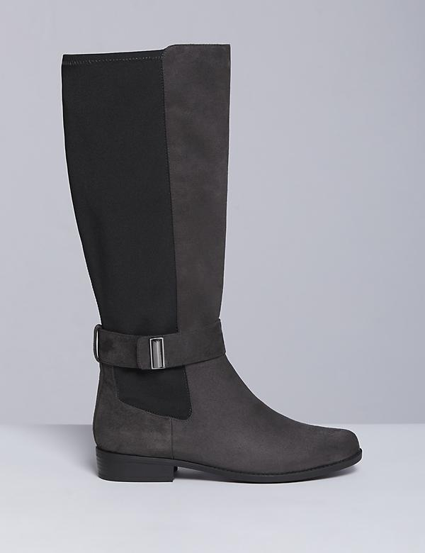Faux Suede Riding Boot with Ankle Strap