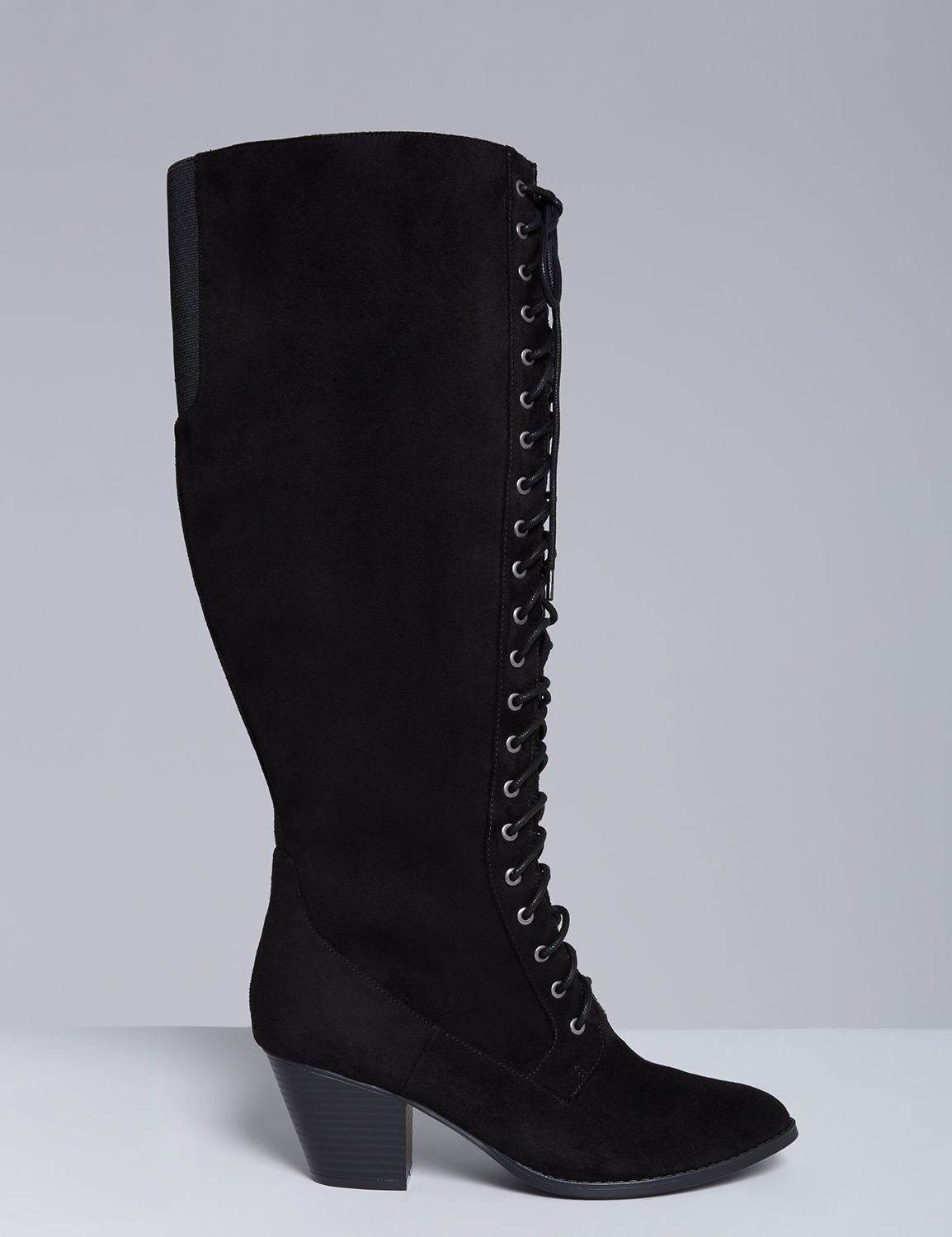 Retro Vintage Style Wide Shoes Lane Bryant Womens Tall Lace-Up Boot 12W Black $89.95 AT vintagedancer.com