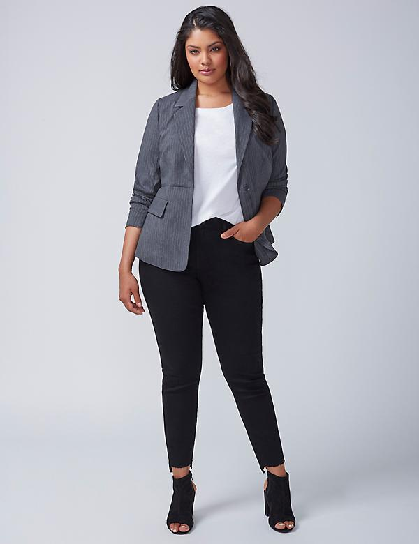 Striped Peplum-Back Blazer