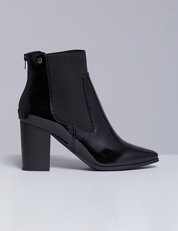 Patent Ankle Boot with Block Heel
