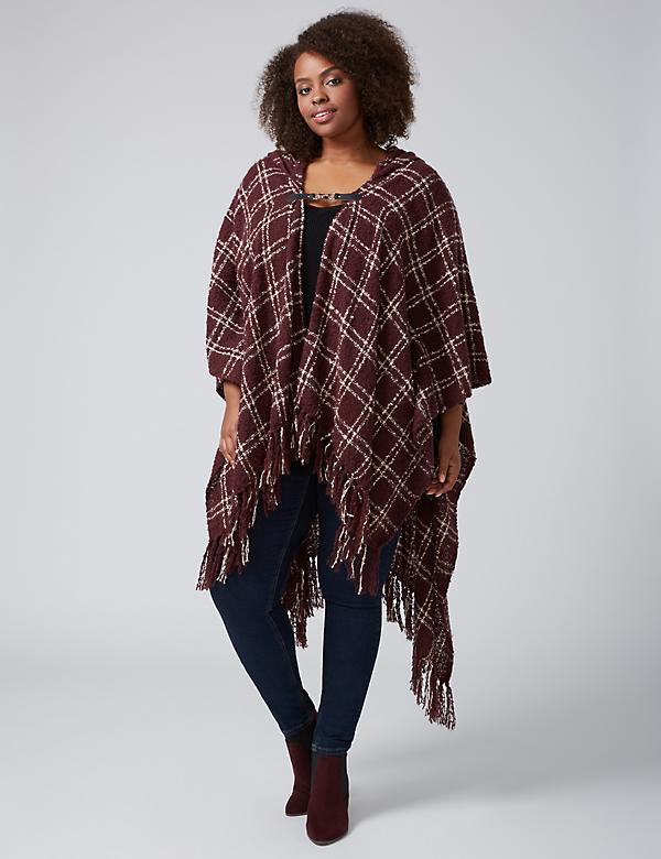 Plaid Hooded Kimono with Closure