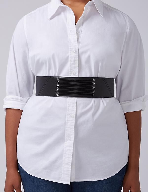Lace-Up Front Wide Stretch Belt